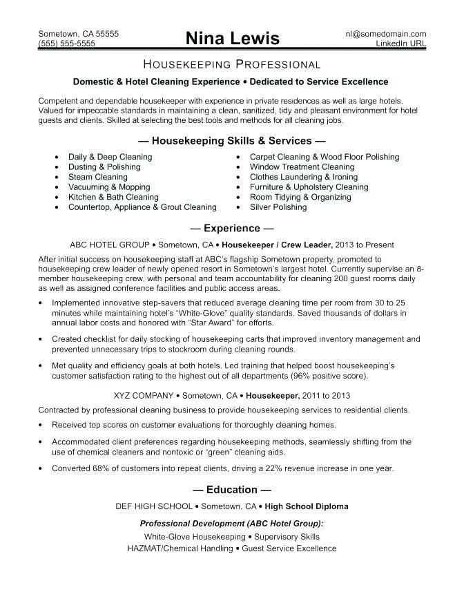 Wunderschon Housekeeping Summary For Resume Resume Examples Housekeeping Sample Housekeeping Resume Housekeeper Resume Hospital Jobs Service Jobs Housekeeping
