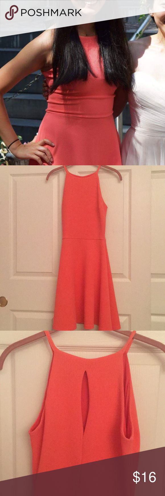 Coral pink halter style A-line dress Coral pink halter style A-line dress. Worn once to a wedding. Size small. Stretchy material that is extremely flattering! Bought from Nordstrom Rack online. Nordstrom Dresses