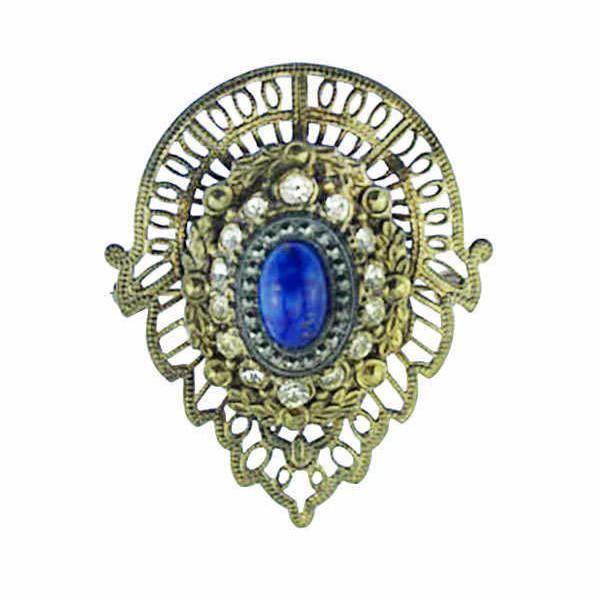 Art Nouveau Blue Glass and Brass Brooch