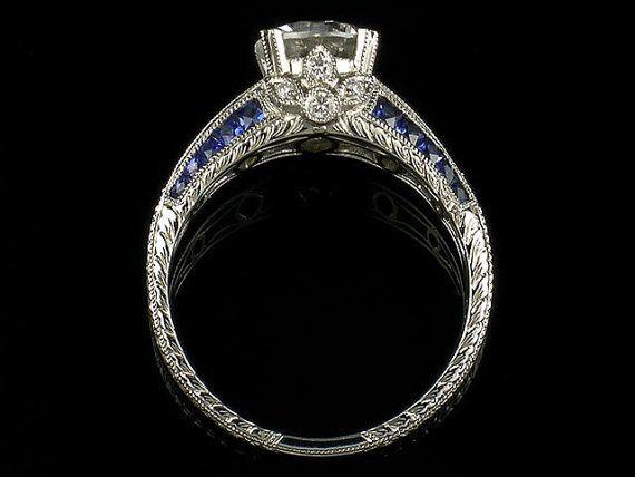 Edwardian Style 14k White Gold Diamond and Blue by shopevintage