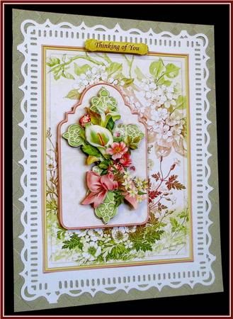 EASTER or SYMPATHY FLORAL CROSS Card Topper Decoupage on Craftsuprint designed by Janet Briggs - made by Rae Trees