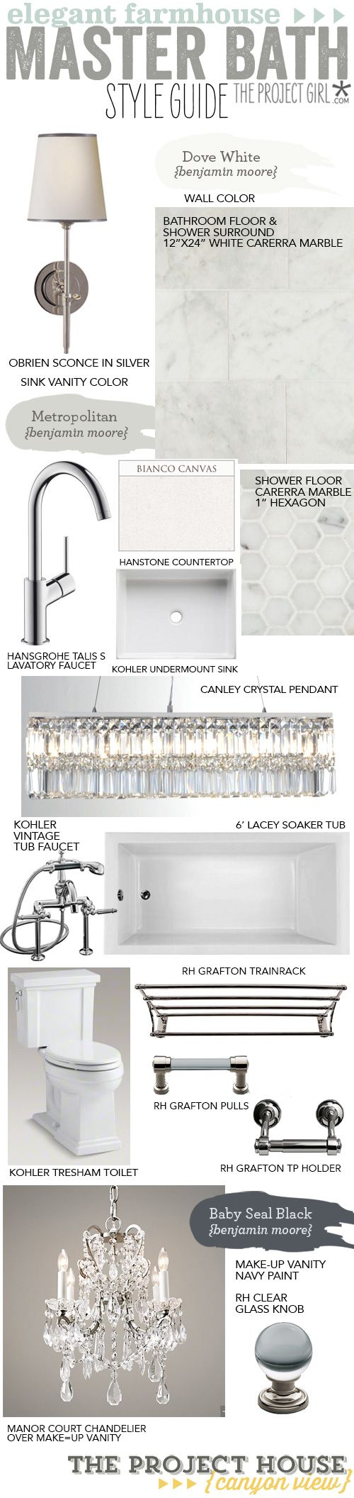 Master Bathroom Style Guide – Elegant Farmhouse | Jenallyson - The Project Girl - Fun Easy Craft Projects including Home Improvement and Decorating - For Women and Moms