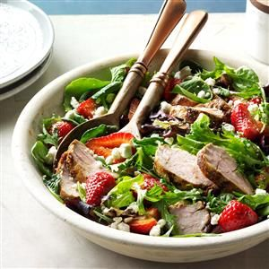 Pork and Balsamic Strawberry Salad Recipe -Serving this entree salad gives me hope that warmer days aren't too far off. If strawberries aren't in season yet, use thawed frozen in place of fresh. —Laurie Lufkin, Essex, Massachusetts