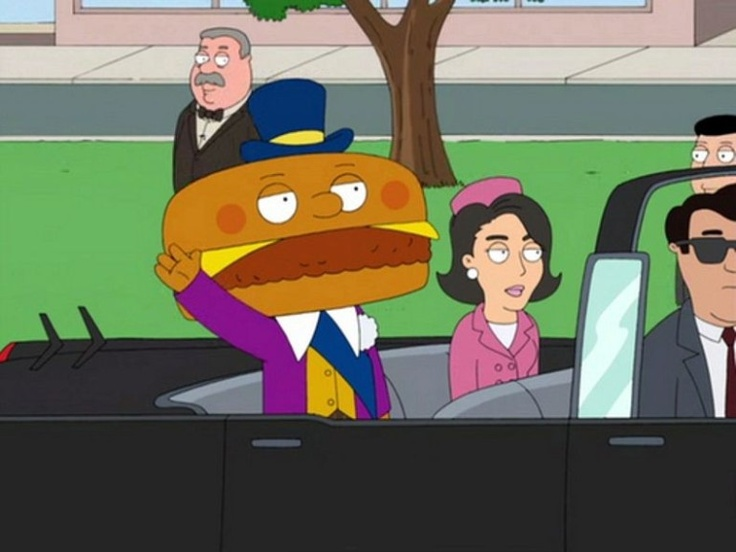 From the Family Guy wiki:   In Road to the Multiverse, he appears as President of the United States in a reality where Frank Sinatra had never been born to influence John F. Kennedy's election. Richard Nixon then botches the Cuban Missile Crisis plunging the Earth into World War III. Mayor McCheese is the one who was shot by Lee Harvey Oswald with his wife Jackie McCheese, eating the meat that was shot off.