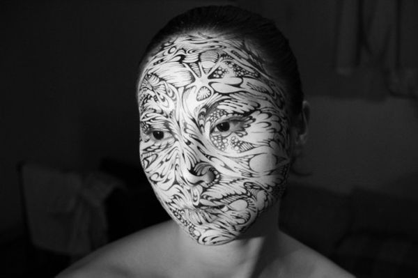 Ink on Skin: Intricate Pen Drawings on Faces by Pinpin Co..