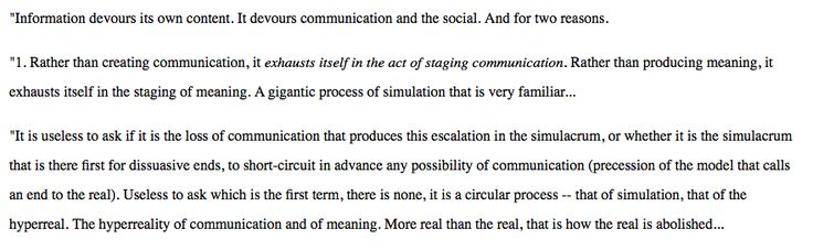 Baudrillard, Simulacra and Simulations