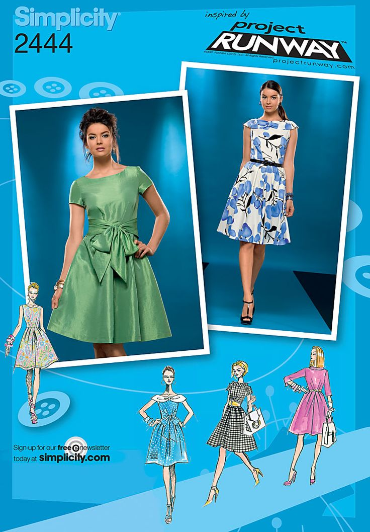 Simplicity : 2444  Misses' Dresses  Inspired by Project Runway. Misses' Dress sewing pattern with collar and sleeve variations.