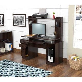Inval Credenza/ Computer Workstation Desk With Hutch By Inval America LLC