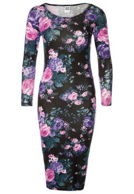 DARK FLOWER - Jersey dress - black