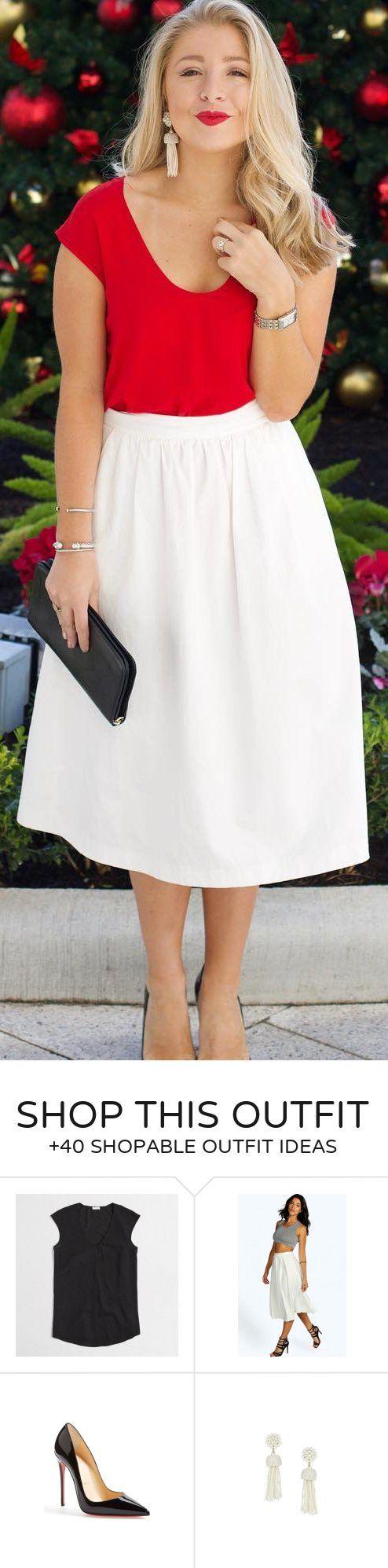 #winter #fashion /  Red Top / White Maxi Skirt / Black Clutch