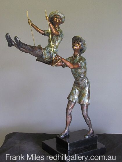 "Frank Miles Bronze Sculpture  ""The Swing"" Red Hill Gallery, Brisbane.  redhillgallery.com.au"