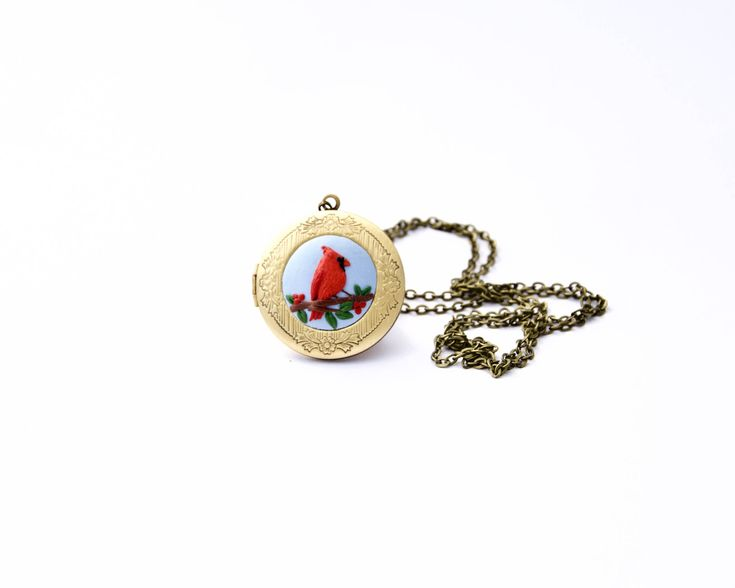 Excited to share the latest addition to my #etsy shop: Cardinal necklace, Birthday gift for her, Locket necklace, Cardinal bird, Long distance, Gift for her, Mothers Day, Mom gift, Bird locket