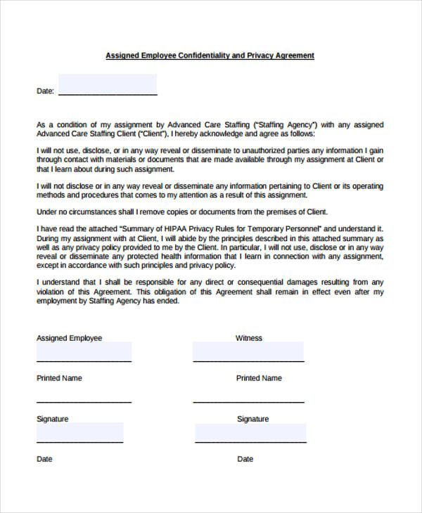 Hipaa Confidentiality Agreement Template 28 Images 15