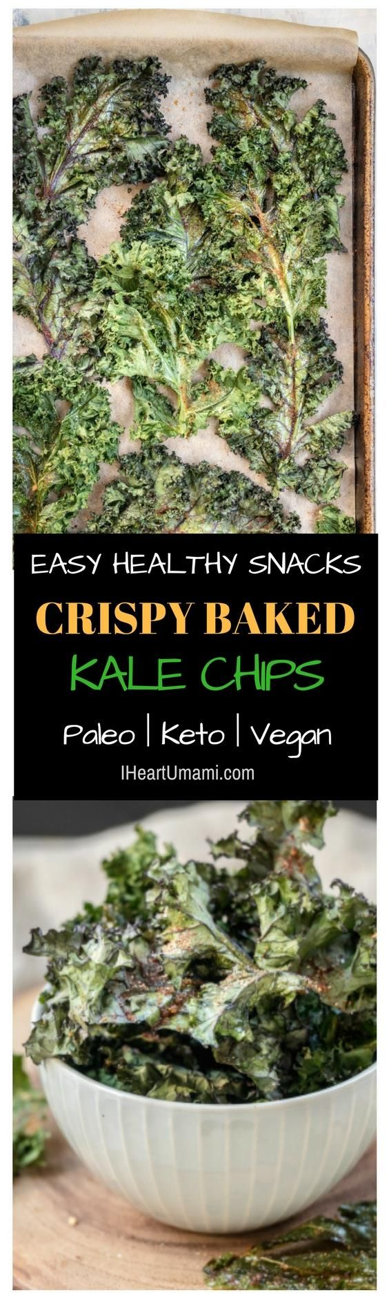 Crispy Baked Kale Chips recipe that's easy, quick, and perfect healthy snacks. Enjoy them between meals or add to meal bowls for extra crispy deliciousness. Keto Whole30 Vegan and Paleo friendly from IHeartUmami.com #Kalechips #Kale #Vegan #healthysnacks #snacks #Paleosnacks via @iheartumami