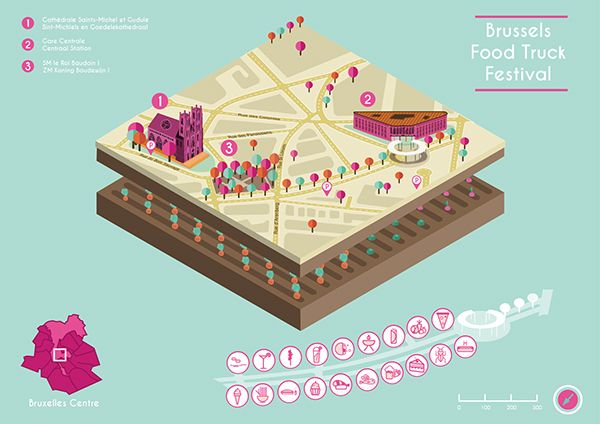 "Isometric Map ""Brussels Food Truck Festival"" on Behance"