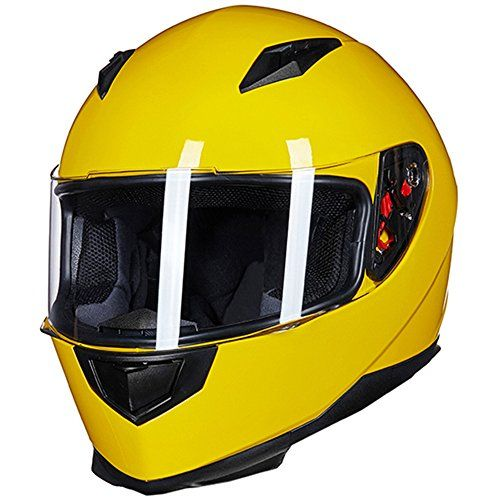 b19a66da ILM Full Face Motorcycle Street Bike Helmet with Removable Winter Neck  Scarf + 2 Visors DOT (XL, Yellow)