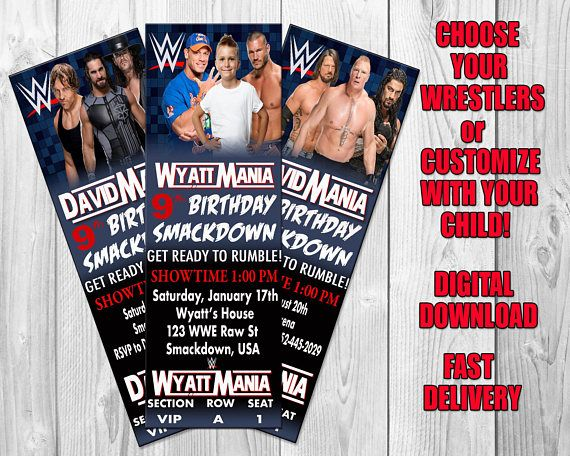 Wwe Wrestling Birthday Party Invitation Bbn Grafx Has The Best