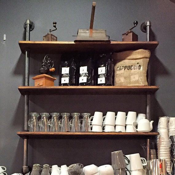 wall mounted kitchen shelves bookcase gas pipe steampunk vintage style steamjunk style but some like - Wall Mounted Kitchen Shelf