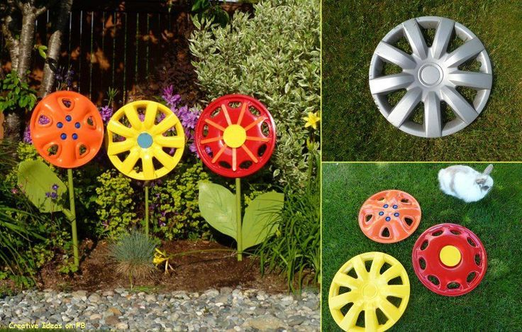 Creative DIY Garden Ideas for Decorating Inexpensively.  Good idea for all those loose hub caps laying around on the road.