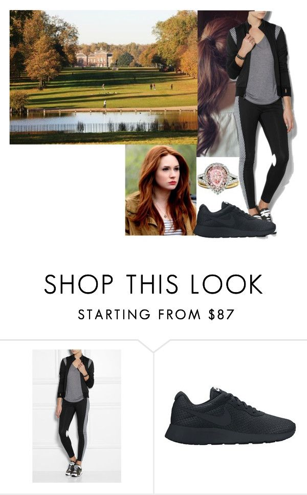 """""""Early morning jog with Ailee on Sunday morning"""" by duchess-rebecca ❤ liked on Polyvore featuring NIKE and Diana M. Jewels"""