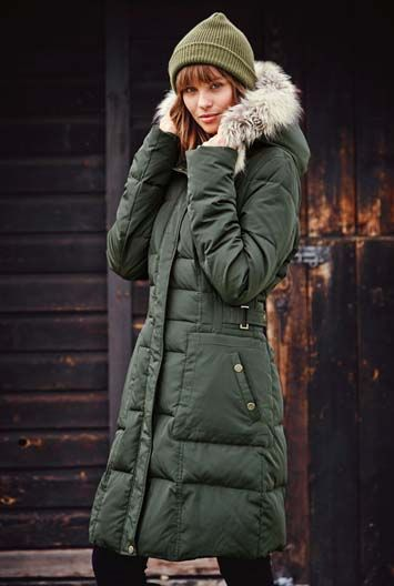 Tall down winter coat in army green $275