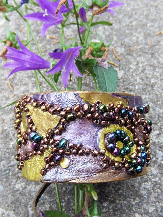 Colorful bracelet made out of leather with glass by artispartem, $19.00
