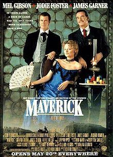 "Maverick The story, set in the American Old West, is a first-person account by a wisecracking gambler Bret Maverick (Mel Gibson), of his misadventures on the way to a major five-card draw poker tournament. Besides wanting to win the poker championship for the money, he also wants to prove, once and for all, that he is ""the best"". However, complications keep getting in the way."