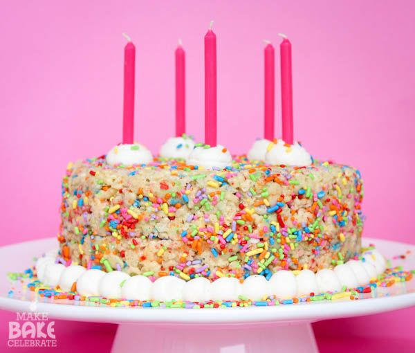Rice Crispy Birthday Cake! Ingredients  5 cups rice crispy cereal 1 10oz bag Jet-Puff mini marshmallows 3 TBS butter 1 cup yellow cake mix (...