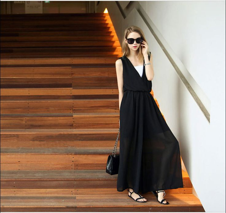 Hot Summer style Beach rompers womens jumpsuit chiffon black Loose Wide Leg Trousers female wear Plus szie Rompers