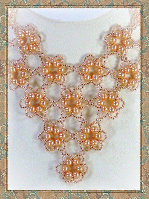 Beadweaving - Beadwork - Pearls in Peach Beadwoven Necklace - Seed Bead Jewelry. $175.00, via Etsy.