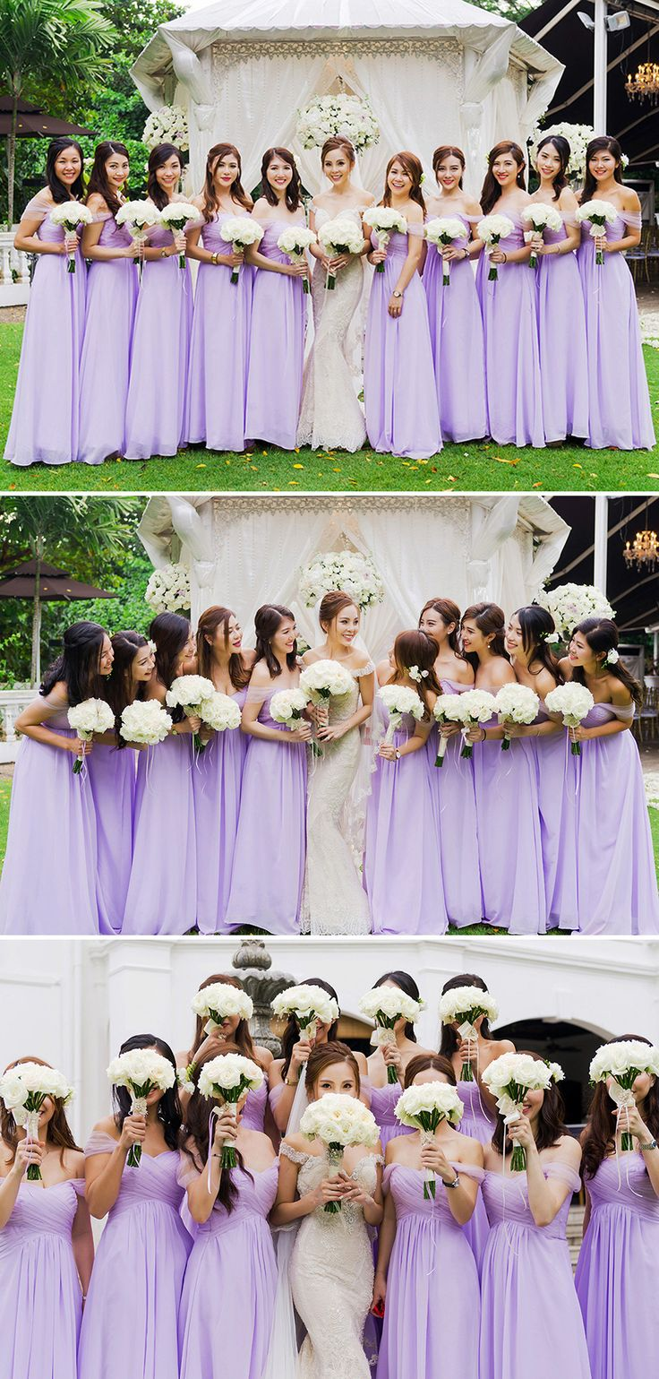 Bride in white and her bridesmaids dressed in lilac carrying white bouquets // You've seen their dramatic pre-wedding photo shoot in Budapest and now we're delighted to share their purple-tinged Singapore garden and ballroom wedding at Alkaff Mansion and The St. Regis Singapore photographed by Trouve, with lush decor and flowers by Boenga.