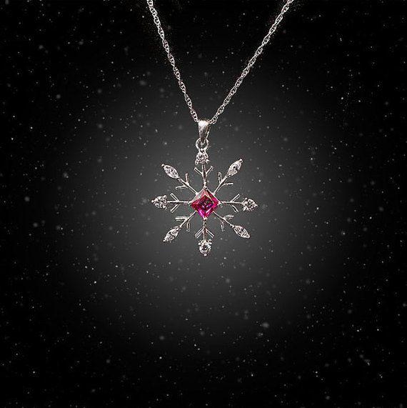 Snowflake Necklace - Julia Snowflake - Deep Pink Bridal Necklace - Bridesmaid Gift - Bridal Pendant - Bridal Jewelry for Winter Wedding - CZ