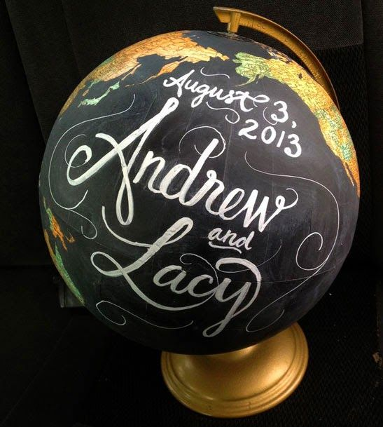 maybe find a globe at a thrift store, cover it in chalkboard paint and have chalkboard markers for people to sign with? ties in with the travel theme..
