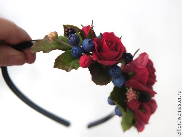 Купить Ободок с розами и ягодами из полимерной глины - ободок для волос, ободок с цветами, ободок с ягодами