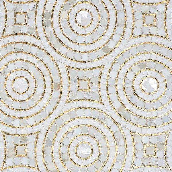 "Global inspiration meets hometown technique in this tile company founded by Sara Baldwin. A native of Virginia's Eastern Shore, where New Ravenna is headquartered, the designer credits the region's ""bountiful and beautiful habitat"" for the spirit of her work. Shown is the Orson tile, a hand-cut mosaic with Calacatta marble and 24K-gold glass, devised by Baldwin and executed by artisans in her studio."