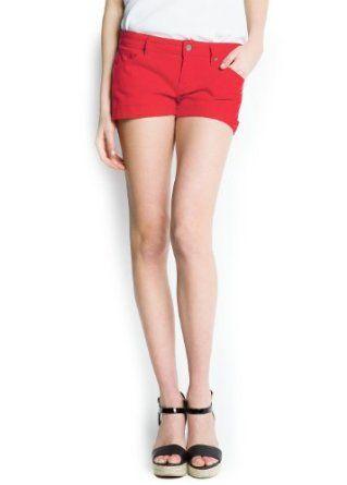 Mango Women's Dyed Denim Shorts, Red, 6 Red 6 MANGO. $29.99
