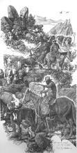 western pencil drawings, pencil artwork of working cowboys, ranch scenes, cattle drives, cookin' scenes by western artist Virgil C. Stephens