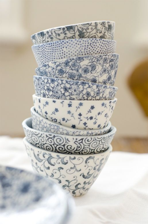 Blue and white bowls.