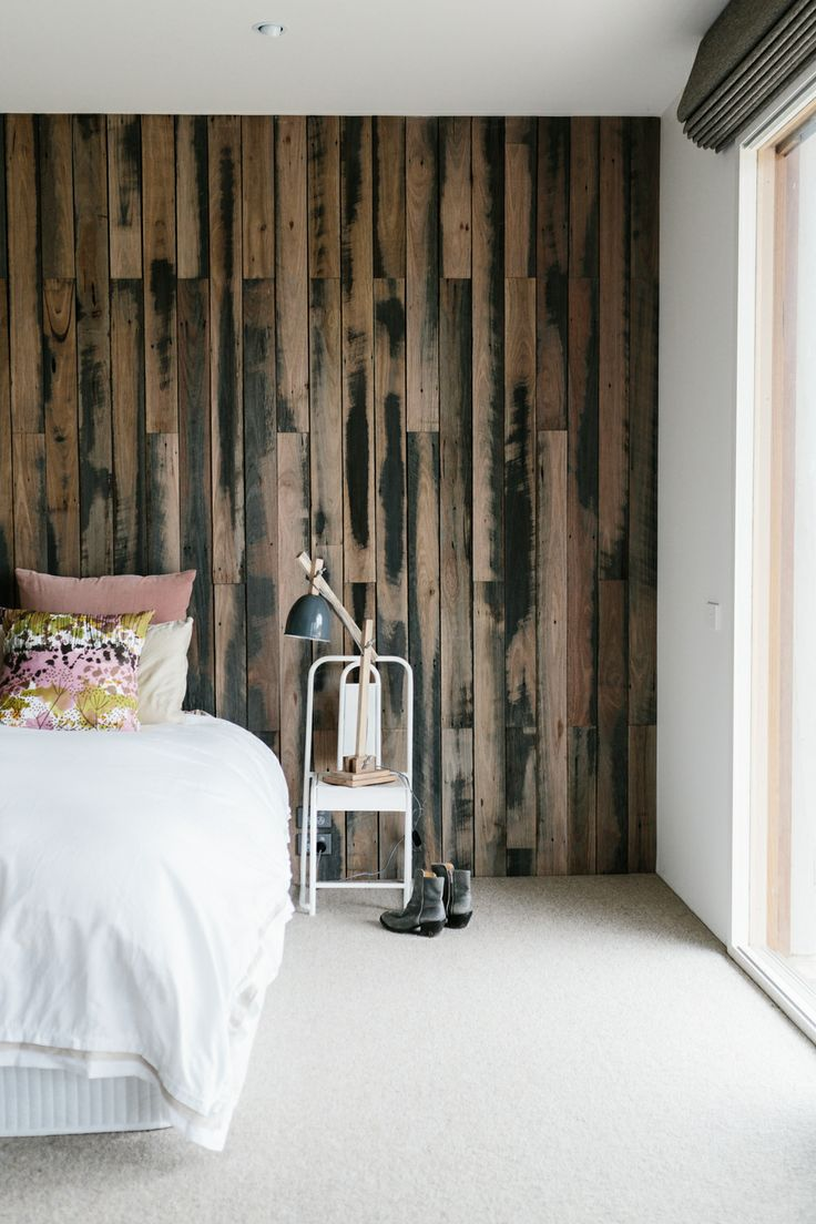 Absolutely love our recycled timber feature wall...think it works! Photograph by Tara Pearce Photograghy Styled by Stephanie Somebody