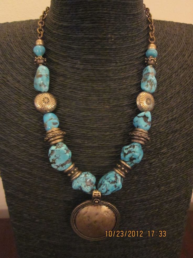 Turquoise fabricated beads and brass findings