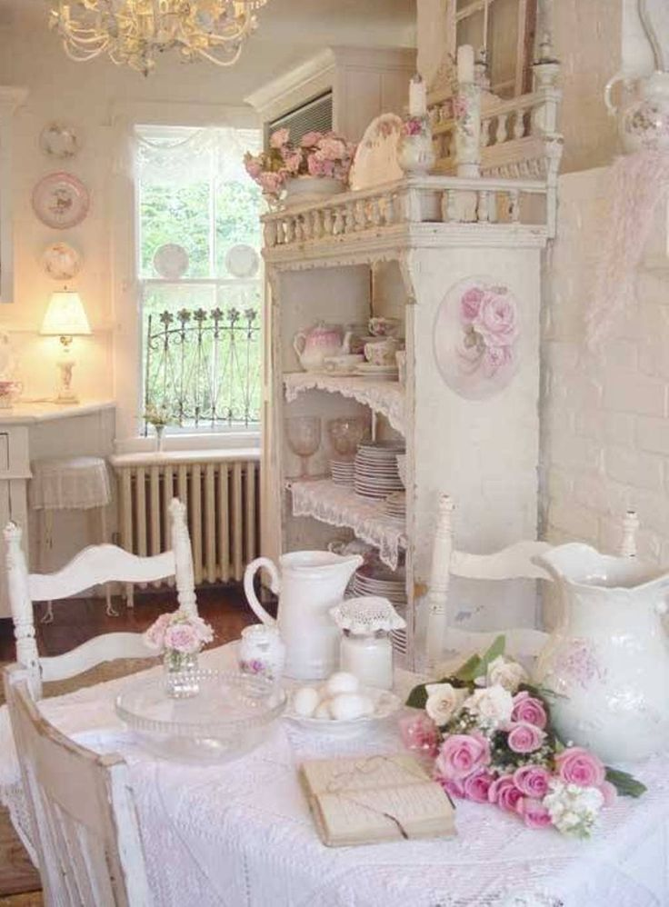 Pink and white colour scheme shabby chic kitchen ideas - Cucine shabby chic ...