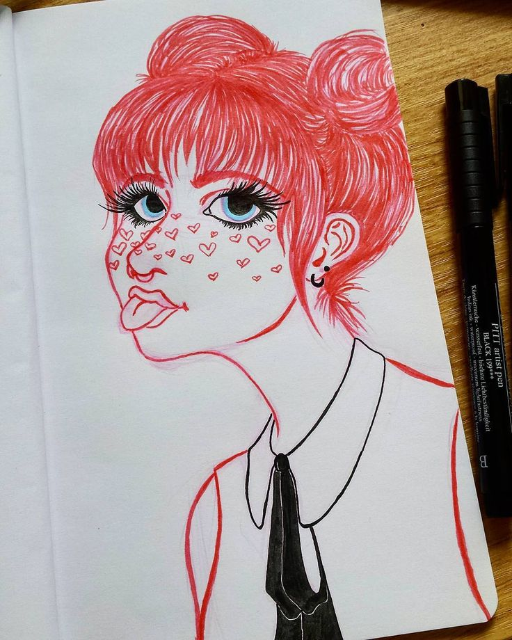 Artblock is almost gone 🙈  Tools: Faber Castell PITT artist pen B and S, Kuretake ZIG Clean Color and Prismacolor Col-Erase  #pink #girl #drawing #art #sketch #fabercastell #heart