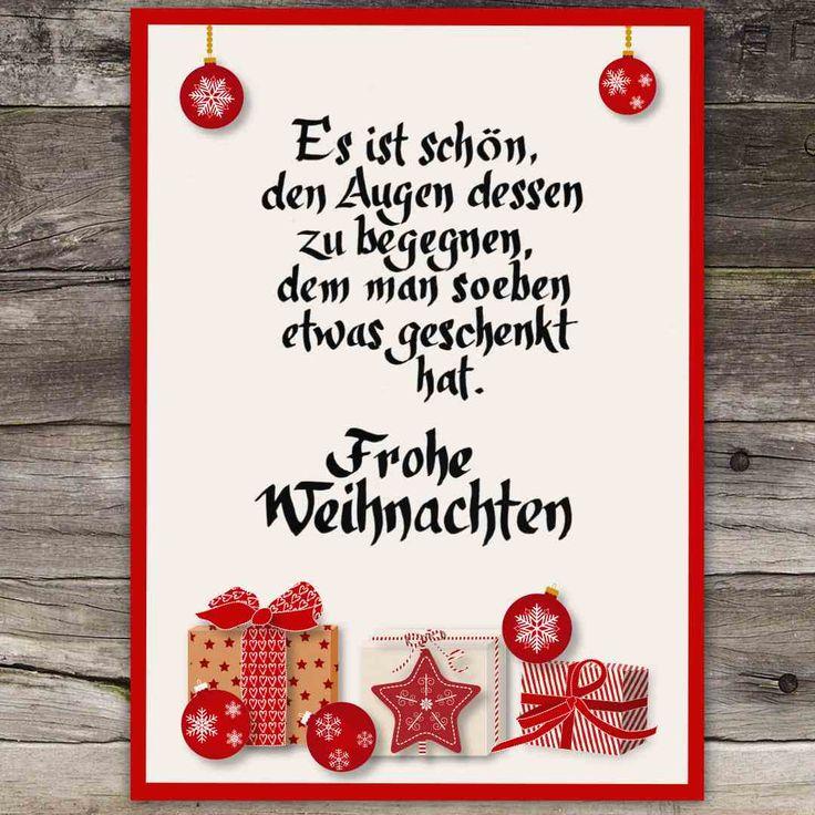 Weihnachtskarte Frohe Weihnachten Es ist schön den Augen dessen zu begegnen, dem man soeben etwas geschenkt hat. / Christmas greeting card