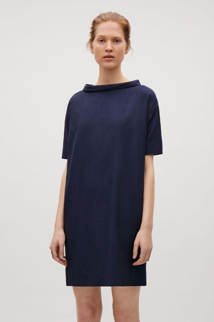 COS image 7 of Standing collar dress in Indigo