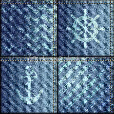 Лоскутное одеяло из джинсовой ткани в морском стиле — стоковая иллюстрация #68898047