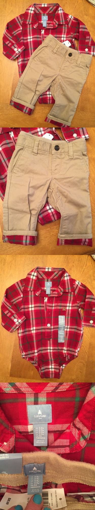 Baby Boys Clothing And Accessories: Baby Gap Boy 3-6M Plaid Shirt And Khaki Pants Nwt BUY IT NOW ONLY: $39.99