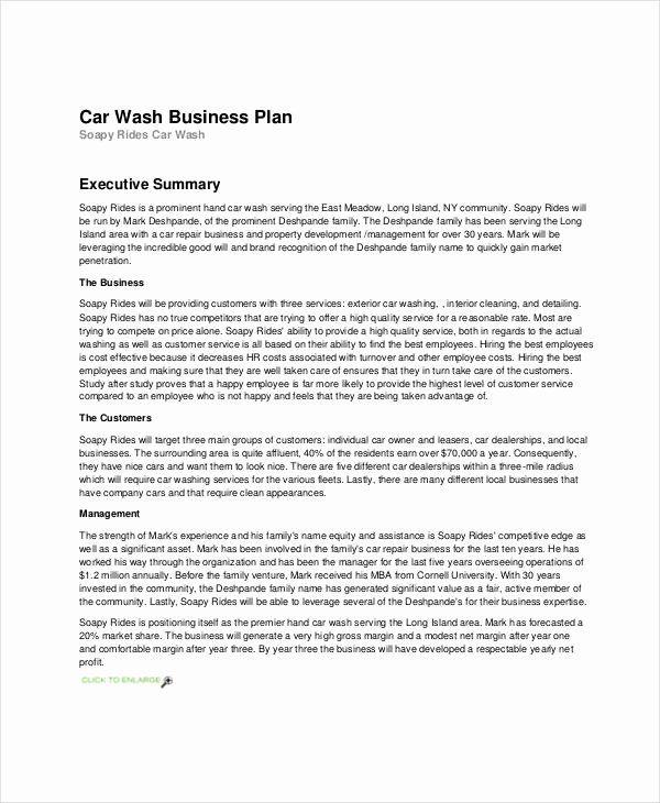 Car Wash Business Plan Inspirational Free 28 Simple Business Plan