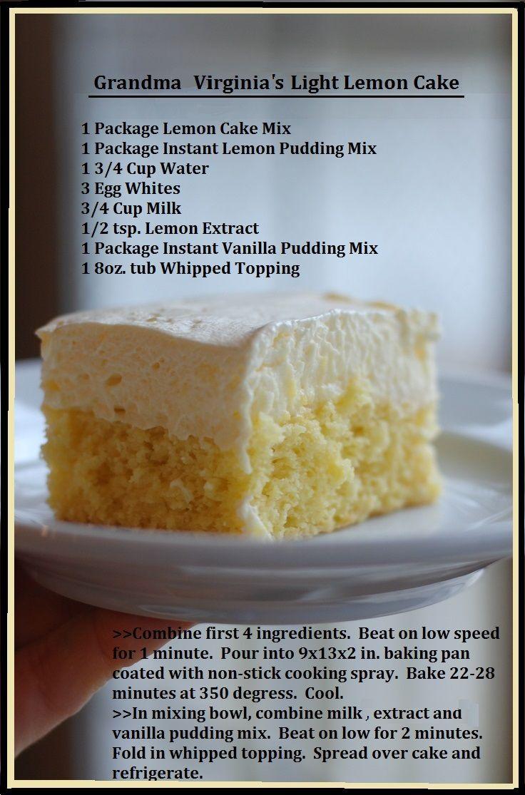 Grandma Virginia's Light Lemon Cake... easy dessert cake!