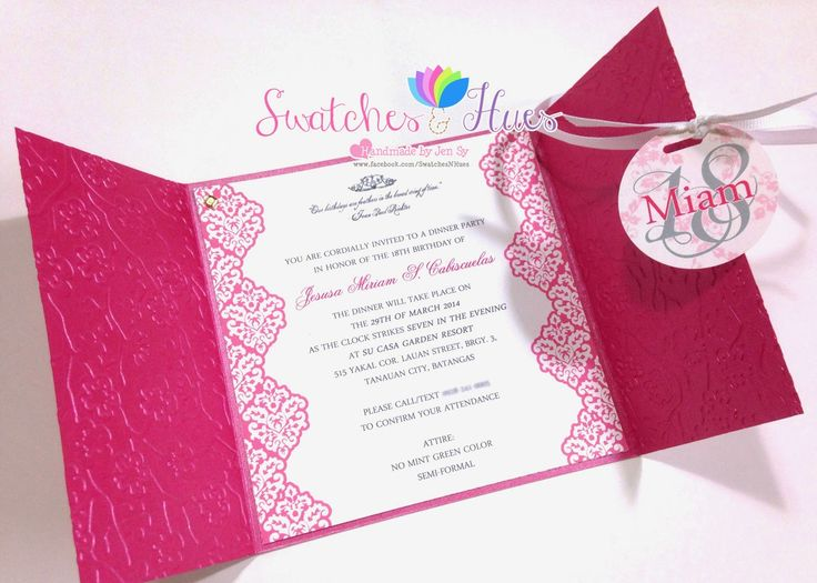Invitation card debut invitationjpg swatches hues handmade with tlc princess theme gate fold stopboris Images