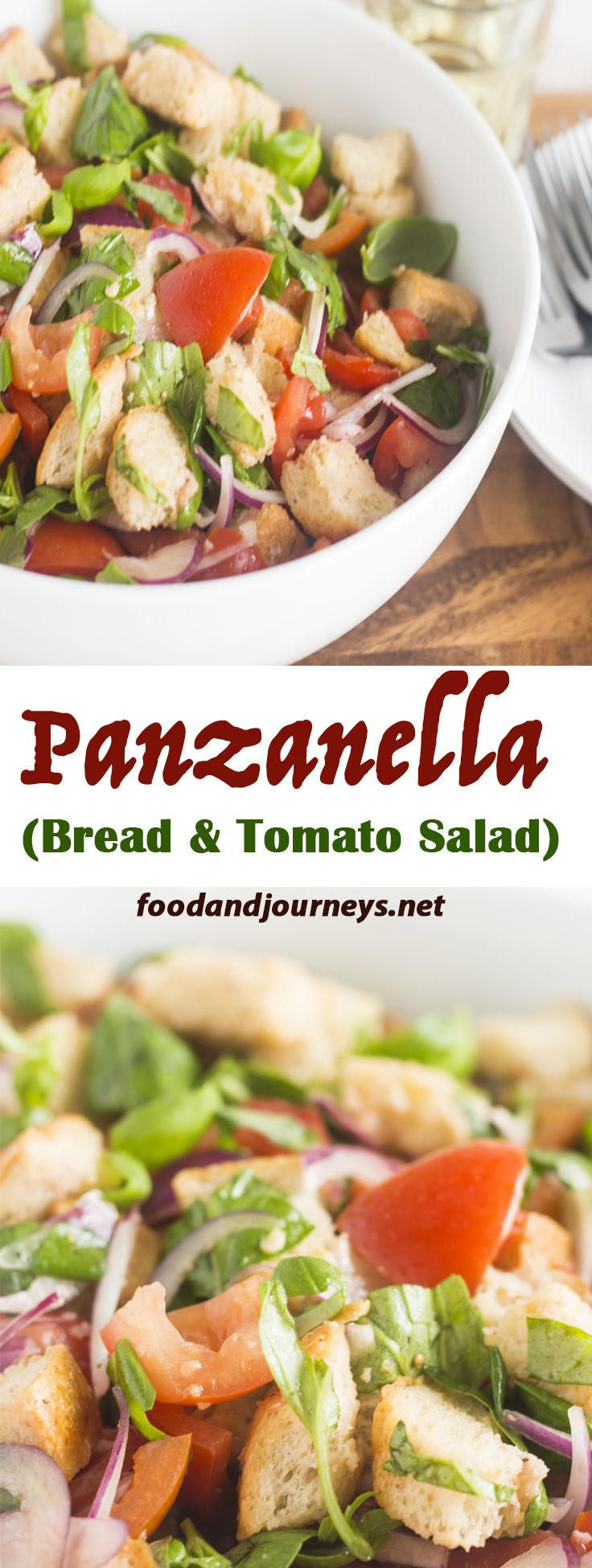 Panzanella, a delicious salad from the region of Tuscany that's made of tomatoes, bread, onion and fresh basil leaves. It can be eaten on its own or served as an appetizer!